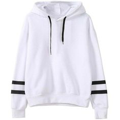 Autumn Winter New Hooded Loose-Fitting Long Sleeve Hoodie ($25) ❤ liked on Polyvore featuring tops, hoodies, loose tops, white top, loose long sleeve tops, hooded pullover and white loose top #fashionhoodieswomens