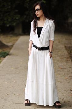 women's white flax Sexy Casual big Pleat big pocket Linen Maxi Dress Day dress Sundress linen cotton Long Maxi Skirt qz34