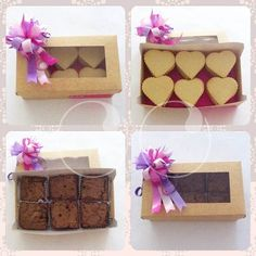 Productos de Anahata Reposteria en nuestros empaques (cajas y moños)!