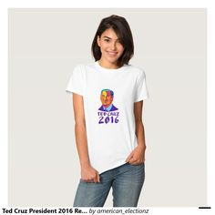 Ted Cruz President 2016 Retro Tees. American elections women's t-shirt showing an illustration showing Rafael Edward Ted Cruz, an American senator, politician and Republican 2016 presidential candidate done in retro style with words Cruz 2016. #Cruz2016 #republican #americanelections #elections #vote2016 #election2016