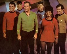 The 1960 original crew William Shatner, De-Frost Kelly, Leonard Nimoy, James Doohan, Nichol Nichols, Walter Koenig, and George Takei