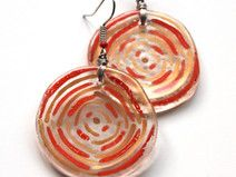 Round Orange and Gold Glass Earrings