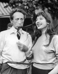 Jean Cocteau and Juliette Gréco on the set of Orpheus.