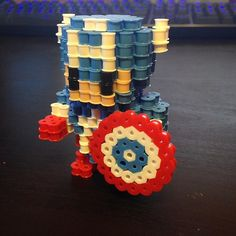 3D Captain America perler beads by justbeadit21