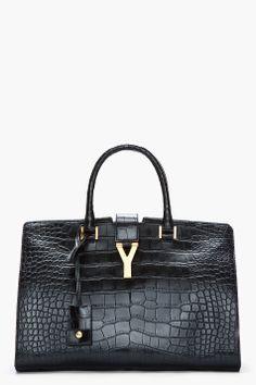 SAINT LAURENT Black genuine alligator leather Chyc tote