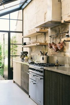 A Cook's Kitchen That Combines a Modern Rustic Aesthetic With Industrial Style Industrial Kitchen Design, Industrial Interiors, Rustic Kitchen, Industrial Style, Design Kitchen, Industrial Kitchens, Vintage Kitchen, Modern Kitchens, Coastal Kitchens