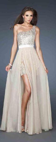 Fashion Champagne A-Line Chiffon Sleeveless Long Prom Dresses klkdresses66210xder #longdress #promdress