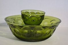 Vintage Green Glass Chip and Dip Bowl Pressed by PanchosPorch, $14.50