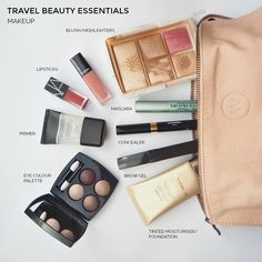"""I'm a reformed packer but I still fall down in is the beauty department. These are my travel beauty essentials and tips for cutting back what you """"need""""."""
