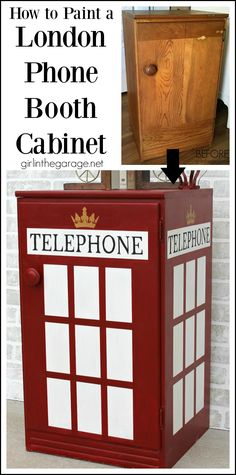 How to paint a London phone booth on furniture - Girl in the Garage