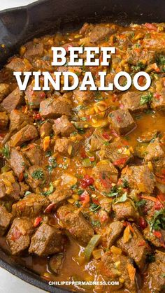 This beef vindaloo recipe is always a popular curry dish. My version is wonderfully spicy, though you can easily adjust the heat and spice to your preference. Spicy Recipes, Curry Recipes, Asian Recipes, Mexican Food Recipes, Chicken Recipes, Cooking Recipes, Healthy Recipes, Spicy Beef Curry Recipe, Indian Beef Recipes