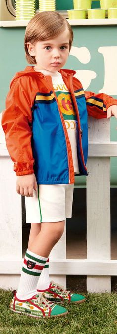 GUCCI KIDS BOYS Blue & Orange Stripe Jacket, White Logo Shirt & Shorts for Spring Summer 2018. Super cute green GUCCi pineapple shoes