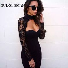 Black Rayon Lace Hollow Out Banquet Strapless Summer Autumn Bodycon Club Dresses Sexy Evening Vestidos Party Bandage Dress Women *** Continue to the product at the image link.