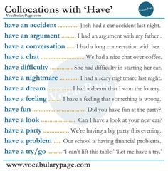 "Collocations with ""Have"""