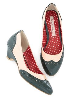 Black&White Multicolor Colorblock Oxford Sweet Spectator Heels in Glossy Emerald Flats @ ModCloth $35