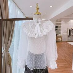 Casual Polka Dot Petal Sleeve Stand Collar See-through Lace Blouse Petal Sleeve, Wedding Shoes Heels, Collar Designs, Shoe Pattern, Types Of Sleeves, Sexy Dresses, Sleeve Styles, Spring Fashion, Blouses