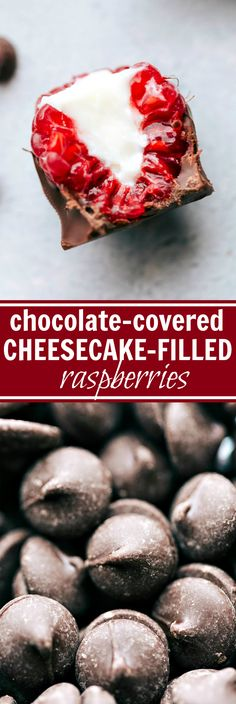 """No-bake """"cheesecake"""" filling inside of chocolate-covered raspberries -- These cheesecake filled raspberries make for an easy treat! Fun Desserts, Delicious Desserts, Dessert Recipes, Yummy Food, Candy Recipes, Sweet Recipes, Homemade Candies, Cupcakes, Calories"""