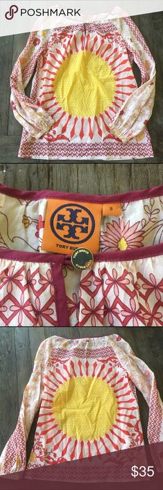 Tory Burch Colorful Flowy Top Size 8 Adorable top to throw on over jeans! Can be made casual with sneakers or fancy with sandals. Excellent used condition, normal wash/wear. Make offers! Tory Burch Tops Blouses