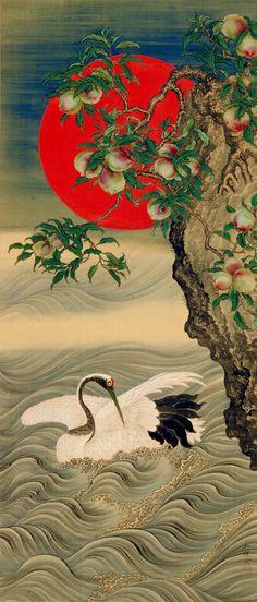 'Auspicious Symbols: Crane, Rising Sun and Peach' (circa Silk painting by Okamoto Shūki 岡本秋暉 - and text courtesy Freer Sackler. Japanese Art Copyright with museum. Street Art, Art Chinois, Art Asiatique, Art Japonais, Japanese Painting, Japanese Prints, Japan Art, Woodblock Print, Bird Art
