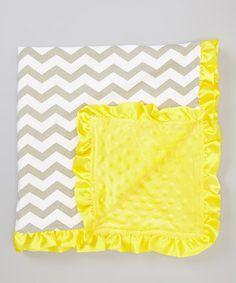 Look at this #zulilyfind! Yellow & Taupe Zigzag Minky Stroller Blanket by Little Gem #zulilyfinds