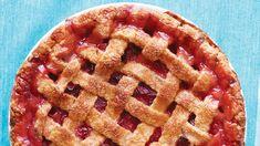 Rhubarb-Strawberry Lattice Pie Strawberry Lattice Pie Recipe, Strawberry Rhubarb Pie, Strawberry Recipes, Fruit Recipes, Pie Recipes, Cookie Desserts, No Bake Desserts, Just Desserts, Baking Desserts