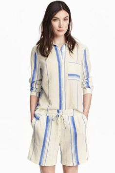 15 Pajama Sets Too Chic To Wear To Bed -- Lightweight stripes that have summer Fridays written all over them. H&M Cotton Shirt, $34.99, available at H&M; H&M Cotton Shorts, $29.99, available at H&M.