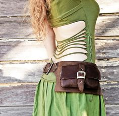 2 Pocket women's, men's  leather belt bag in brown, belt pouch, hip bag, utility belt, bum bag. $116.00, via Etsy.