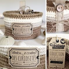 Crochet baskets made from jute. Great for organizing!