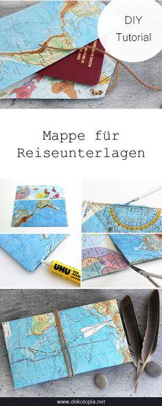 DIY Anleitung: Etui für Reiseunterlagen aus einer Landkerte basteln. Ausweis, Tickets und Co sind so gut verstaut.