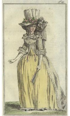 """Open Chemise Dress from Journal Des Luxus, 1788 Chemise """"Retrousse"""" (meaning """"tucked"""") from Journal Des Luxus, 1789 (Aug.)"""