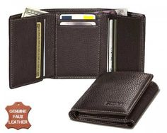 This wallet is made from luxurious faux leather in a classic black colour with a modern triple fold design. It's lightweight, stylish and can be used by both men and women.   The designers have incorporated rounded edges for durability and the edges are folded for a more premium look. It's a great wallet for all your day-to-day needs.