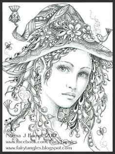 Spring Witch by Norma Burnell Fairy Tangles: March 2012 Coloring Book Pages, Printable Coloring Pages, Doodle Coloring, Fairy Coloring, Colorful Pictures, Sword And Sorcery, Doodle Art, Line Art, Illustration