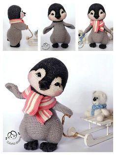 Crochet Bird Patterns, Crochet Birds, Crochet Patterns Amigurumi, Cute Crochet, Amigurumi Doll, Crochet Animals, Crochet Dolls, Crochet Penguin, Amigurumi Tutorial