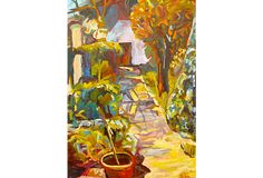 "French Garden Path on OneKingsLane.com described by Cadmium Showroom A stone walkway leads to a little French garden house where tools are stored, while a bright afternoon sky lights up the colorful plants. Signed lower right ""Holden,"" an American-born artist trained at the Cranbrook Academy of Art in Bloomfield Hills, Michigan."