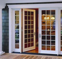 Exterior Double Door Trim before & after: moldings for patio double doors   moldings, patios