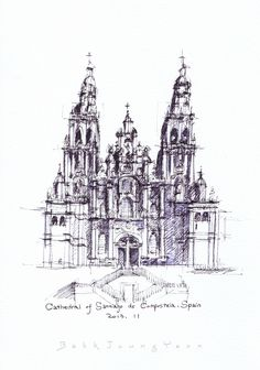 Cathedral of Santiago de Compostela, Spain / sketch by Joungyeon, Bahk (Grid-A architecture) grid-a.net