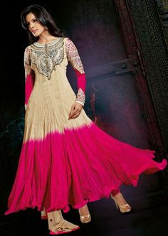 USD 120.15 Brown and Pink Resham Work Chiffon Anarkali Salwar Suit 27764