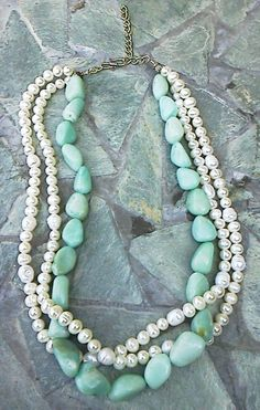 Amazonite Nugget and Freshwater Pearl 3-Strand Necklace. $40.00, via Etsy.