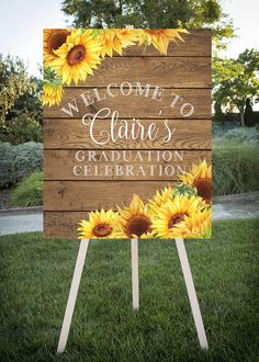 Graduation Signs Discover Graduation Party Welcome Sunflower theme Grad Party Printable Sign Class of 2020 Large printable jpg file Graduation Party Planning, College Graduation Parties, Graduation Celebration, Graduation Party Decor, Grad Parties, Graduation Ideas, Graduation Quotes, Graduation Gifts, Graduation Cupcakes