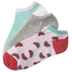 Aeropostale 3-Pack Watermelon, Stripe and Solid Ped Socks (£2.41) ❤ liked on Polyvore featuring intimates, hosiery, socks, watermelon, tropical mint neon, aeropostale socks, cotton socks, striped socks, mint socks and mint green socks
