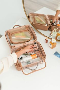 The Clear Cosmetics Case Pairs Well With Your Glow – CALPAK Best Bridal Shower Gift, Face Mask Price, Travel Tags, Travel Organization, Organizing, Luggage Cover, Packing Tips, Travel Packing, Jewelry Case