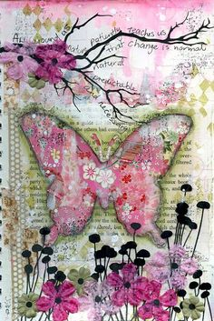 Art journal page with collage background strips of chiyogami pagers Scrap FX field of flowers silhouette and harlequin stamp