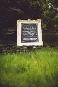 Beautiful ornate chalkboard with a message for your guests adds a simple but elegant style to your wedding or event.  Perfect for table plans too!