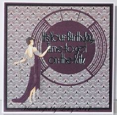 An 8 inch square card made using Tattered Lace Art Deco dies. More details can be found at http://stampingbubbles.blogspot.co.uk/2017/01/putting-on-ritz.html
