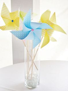 whimsical pinwheels centerpiece