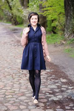 a robot heart: I made a dress. Navy blue dress with pink cardigan and flats.