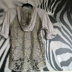 Maurice's lace back hoodie Super cute!! Lace back hooded sweatshirt from Maurice's. Size small. Sleeves can be rolled down to 3/4 length. Frayed bottom edges give this sweatshirt a perfectly distressed look. In excellent preloved condition with no stains or tears. front is 100% cotton; back is 100% polyester. Maurices Tops