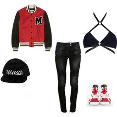 Girls Love Teyana by prettygirlswagbrit on Polyvore featuring Moschino, Balmain, Agent Provocateur and NIKE