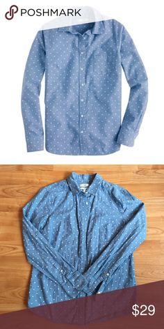 "J Crew Blue Boy Polka Dot Chambray Denim Shirt 2 S This is a beautiful J Crew ""boy"" fit women's shirt in size 2 J. Crew Tops"