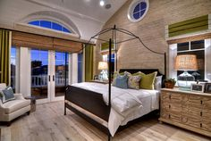 Master bedroom with matte finished hardwood floors. Easier to maintain and soft on the feet.